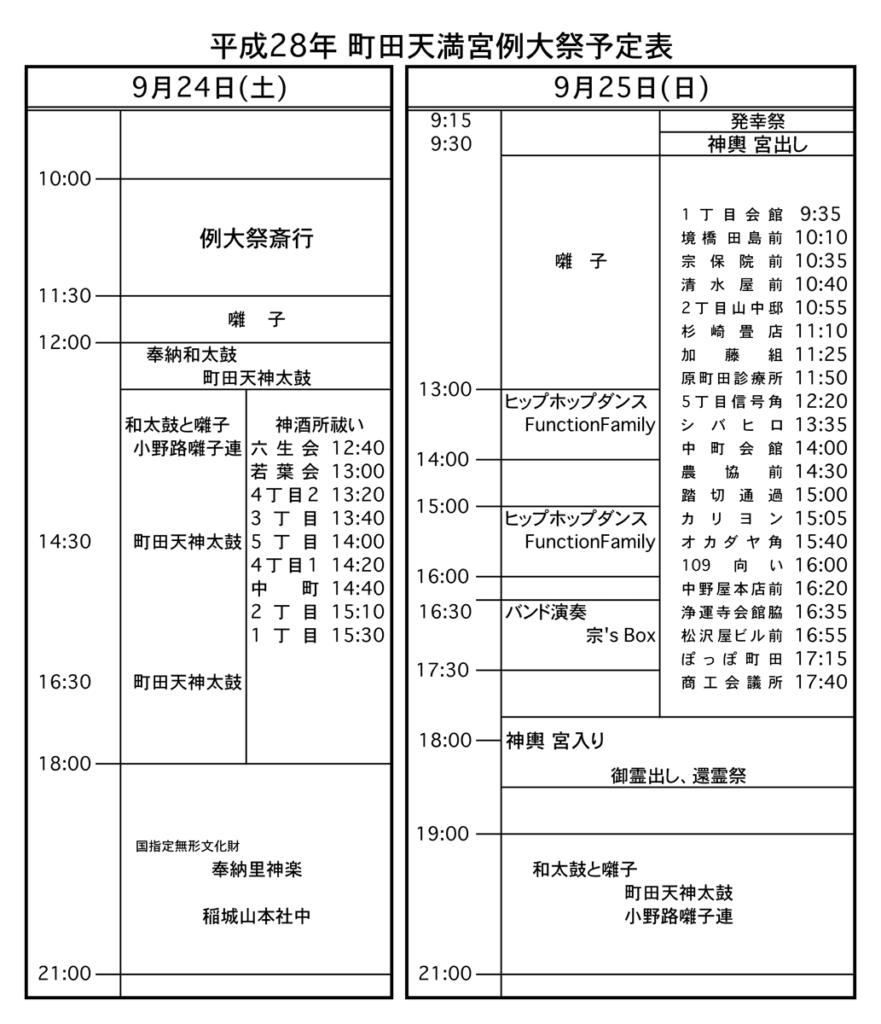 町田天満宮秋季例大祭2016 予定表画像
